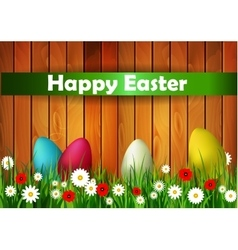 Easter Card with Wood texture vector image