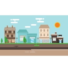 Street shop building flat town old vector