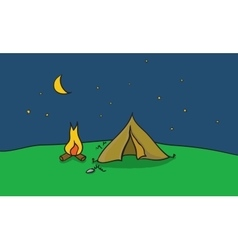 camping place with tent and vector image