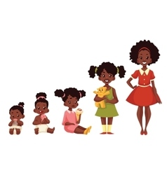 Set of black girls from newborn to infant toddler vector