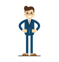 Angry businessman with hands on waist gesture vector