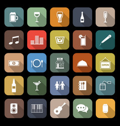 Bar flat icons with long shadow vector