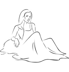 Beautiful woman in dress sitting on the ground - vector