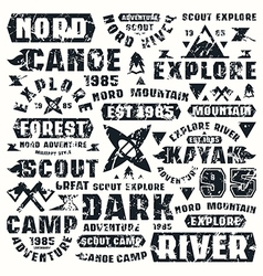 Camping typographic elements vector