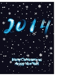 Christmas greeting card with 2014 numbers in neon vector