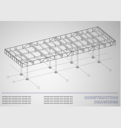 construction drawings 3d metal construction cover vector image vector image