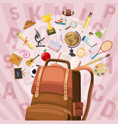 Education concept bag cartoon style vector