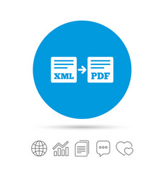 Export xml to pdf icon file document symbol vector