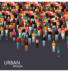 flat of male community with a crowd of guys and vector image vector image
