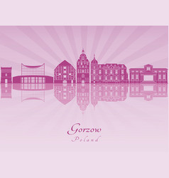 Gorzow skyline in purple radiant orchid vector