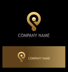 Gps technology position gold logo vector
