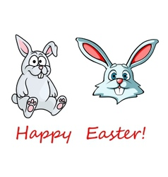 Happy Easter card with easter bunnies vector image vector image