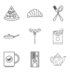 Have supper icons set outline style vector