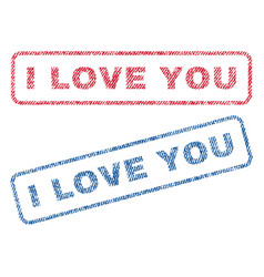 I love you textile stamps vector