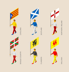 Isometric people with flags of european regions vector