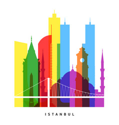Istanbul landmarks bright collage vector