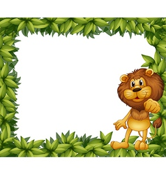 Lion Leafy Frame vector image vector image