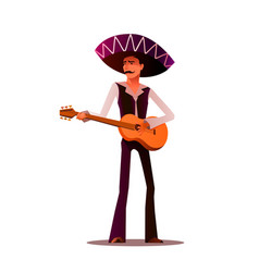 mexican and latin music band musician with guitar vector image vector image