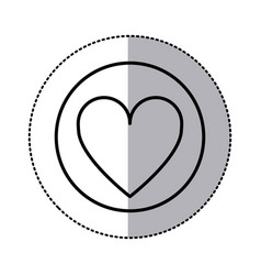 monochrome contour circular sticker with heart vector image