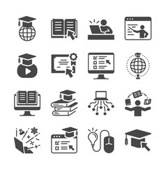 online education icon set vector image