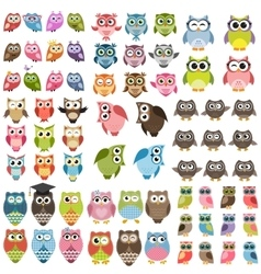 Owls and owlets set vector image vector image