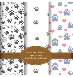 pet paw prints patterns set vector image