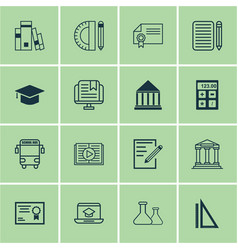 Set of 16 school icons includes taped book vector