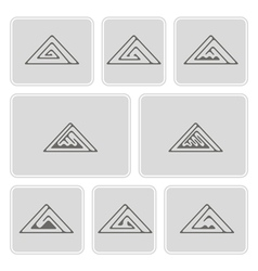 Set of monochrome icons with celtic ornament vector