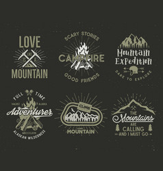 set of mountain and scouting badges climbing vector image