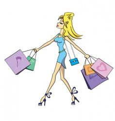 shopping girl vector image