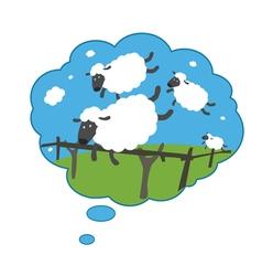 Sleepy lambs jumping through a fence vector image