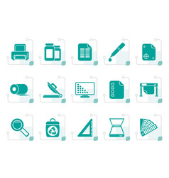 Stylized commercial print icons vector