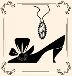 vintage shoe of dame vector image