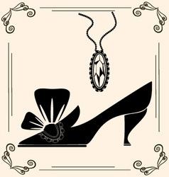 Vintage shoe of dame vector