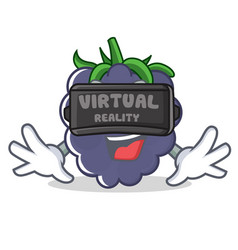 With virtual reality blackberry character cartoon vector