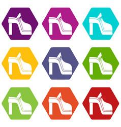 women shoe icon set color hexahedron vector image vector image
