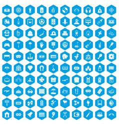100 entertainment icons set blue vector
