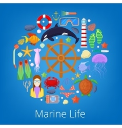 Marine life with sea fish and nautical icons vector
