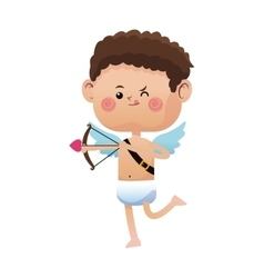 Cute little cupid valentine day shooting bow arrow vector