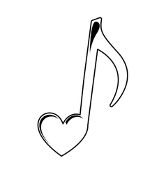Music note with heart vector