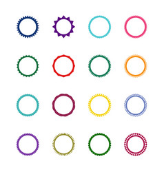 set of 16 round decorative frames vector image