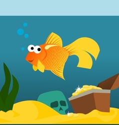 Goldfish in aquarium with treasures vector