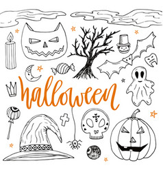 Halloween hand drawn doodle silhouette icons cute vector