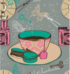 Vintage tea time background seamless pattern vector image