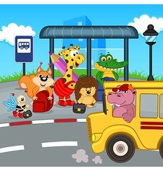 Animals at bus stop waiting school bus vector