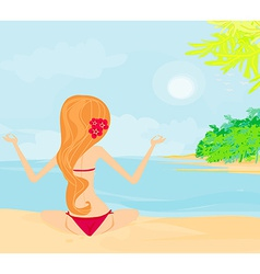 Girl in yoga pose on summer background with palm vector