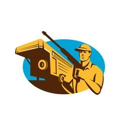 Pressure Washer Cleaner Worker Trailer Retro vector image