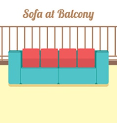 Colorful empty sofa at balcony vector