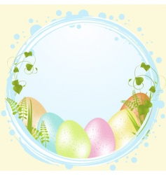 Speckled easter eggs and border vector