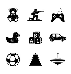 Toys icons set with - car duck bear pyramid vector
